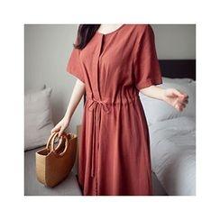 MASoeur - Short-Sleeve Drawstring-Waist Dress