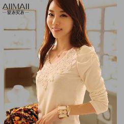 Rosa Isolde - Puff-Sleeve Jacquard Cotton T-Shirt