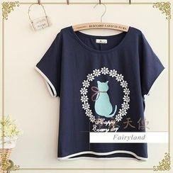 Fairyland - Cat Print T-Shirt