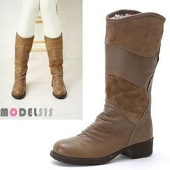 MODELSIS - Genuine Leather Shirred Boots