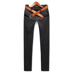 Seoul Homme - Plain Pinstriped Dress Pants