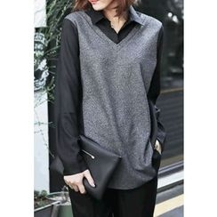 REDOPIN - Inset Shirt Knit Top