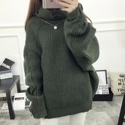 Acoustic Rain - High-Neck Oversized Thick Sweater
