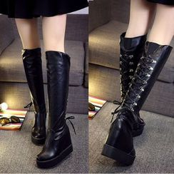 Wello - Hidden Wedge Lace-Up Tall Boots