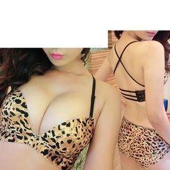 Sexy Babie - Set: Leopard Print Push-Up Bra + Panties