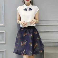 Enjoi - Set: Cap-Sleeve Chiffon Blouse + Print A-Line Skirt
