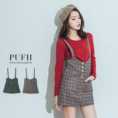 PUFII - 格紋毛呢排釦吊帶短裙