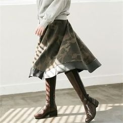 GLAM12 - Wool-Blend Camouflage A-Line Skirt