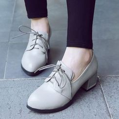 Sidewalk - Lace-Up Chunky Heel Shoes