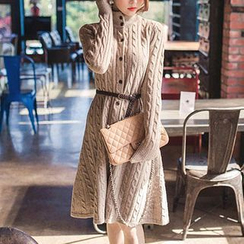 Bubbleknot - Mock-Turtleneck Knit Dress with Belt