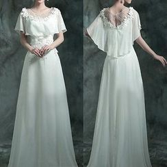 Angel Bridal - Cape-Neck Flower-Accent Sheath Wedding Dress