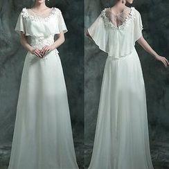 Angel Bridal - Cape-Neck Flower-Accent Sheath Wedding Dress