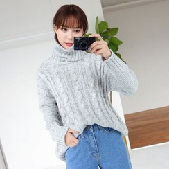 WITH IPUN - Turtleneck Cable-Knit Sweater