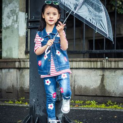 Pegasus - Kids Set: Print Denim Vest + Jeans
