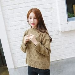 Envy Look - Mock-Neck Pointelle-Knit Top