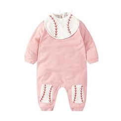 MOM Kiss - Baby Baseball Collared One Piece