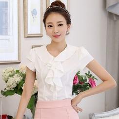 KOKA - 短袖荷叶雪纺衬衫