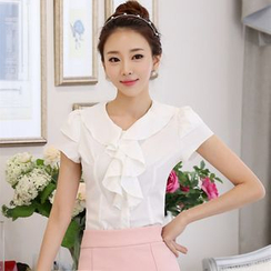 KOKA - 短袖荷葉雪紡襯衫
