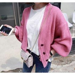 Miamasvin - Balloon-Sleeve Waffle-Knit Cardigan