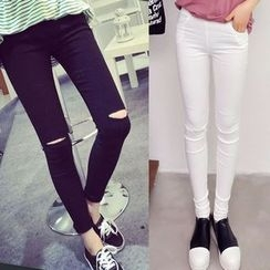 Color7 - Distressed Slim-Fit Cropped Pants