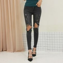 DABAGIRL - Cutout-Knee Washed Skinny Jeans
