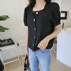 Hello sweety - Puff-Sleeve Metal-Button Blouse