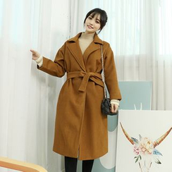 Dodostyle - Wool Blend Open-Front Coat with Sash
