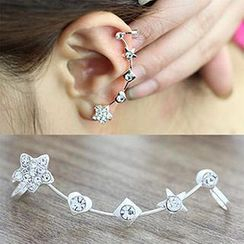 Cheermo - Star Rhinestone Clip-on Earrings