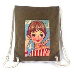 SUZIE BAGS - Cartoon Print Drawstring Backpack