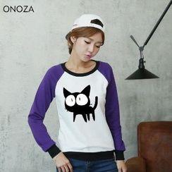 Onoza - 猫咪印花插肩袖卫衣