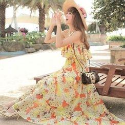 Fashion Street - 碎花抹胸沙滩裙