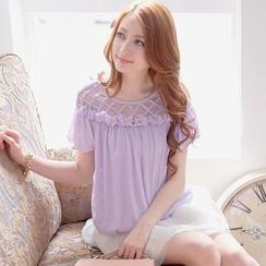 Tokyo Fashion - Short-Sleeve Mesh-Yoke Rosette Top
