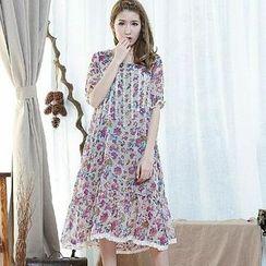 Blue Hat - Short-Sleeve Lace-Trim Floral Dress