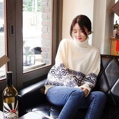 mimi&didi - Turtle-Neck Patterned Sweater