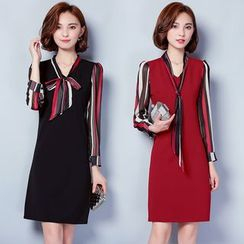 Sienne - Striped Panel Long Sleeve Dress