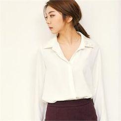 MAGJAY - Velvet-Trim Fly-Front Shirt