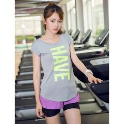 Cara Cloud - Lettering Cap Sleeve Sports T-Shirt