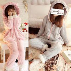 Dreamland - Pajama Set: Ear-Accent Fleece Top + Pants