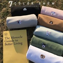 JUN.LEE - Dog Embroidered Long Sleeve T-Shirt