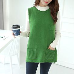 CLICK - Round-Neck Wool Blend Long Knit Vest