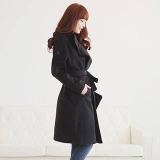 Soneed - Double-Breasted Wool Blend Coat with Sash
