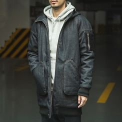 Streetstar - Hooded Long Padded Denim Jacket