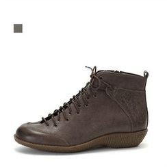 MODELSIS - Lace-Up Genuine Leather Ankle Boots