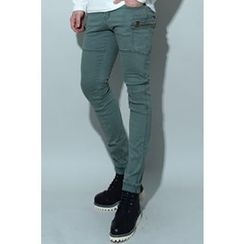 Ohkkage - Cargo-Pocket Trim Pants