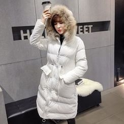Honeydew - Furry Trim Hooded Long Padded Coat