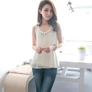 MODE C. - Embellished-Neckline Chiffon Tank Top With Lace Tank Top