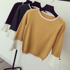 Honeydew - Bell Sleeve Two Tone Knit Top