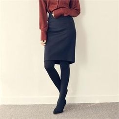 MAGJAY - Wool Blend Slit-Back Pencil Skirt