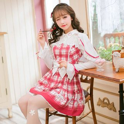 Candy Rain - Long-Sleeve Plaid Pleated A-line Dress