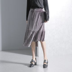 Sonne - Pleated Asymmetric Velvet Skirt